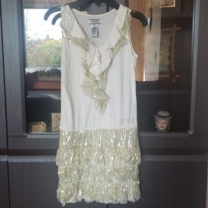 Guess Los Angeles White Gold Sequin Dress
